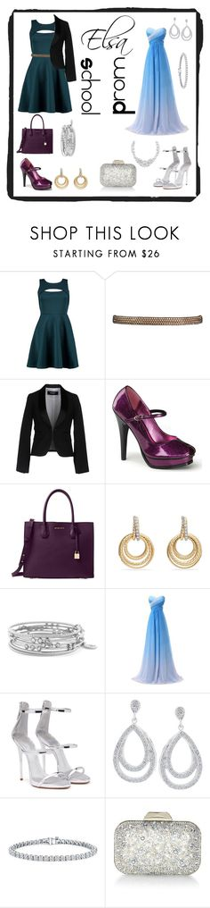 """Elsa casual & formal"" by misszizzentyu ❤ liked on Polyvore featuring Boohoo, Dsquared2, Pinup Couture, Michael Kors, David Yurman, Jessica Simpson, Giuseppe Zanotti, Auriya, Jimmy Choo and Henri Bendel"