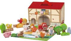 HABA Large Play Set My First Play World - Farm by Haba. $47.49. Materials Vegetables are Beechwood with a non toxic water based stain.. Adaptable, expandable play world!. Packaging becomes a farmhouse for playing.. Ideal for transport and storage.. Contents: 1 farmer, 1 tractor, 1 cow, 1 horse, 1 pig, 1 rooster, 1 hen, 1 goose, 1 cat, 1 dog, 1 milk churn, 1 manger, 2 straw bales, 2 bushes, 3 trees, 3 fences.. Welcome to the farm! All small farm friends will be drawn in...