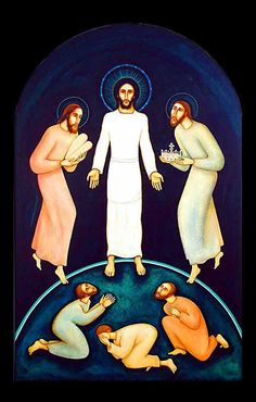 Michael O'Brien > Peter, James, and John are overcome with awe as they see the glory of the Lord revealed for a brief time, immediately before he must go down to Jerusalem to suffer. It is an event that prefigures the resurrection and return of Christ in his glorified body, and a confirmation of the divine mission of Jesu...