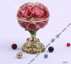 Rose Red 100x70mm Peal Egg Flower Trophy Rhinestone Bejeweled Jewelry Trinket Charm Box Beading Supplies