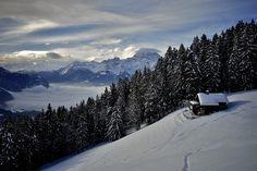 Weekend cabin above Chesières, Switzerland.