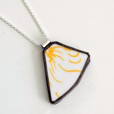 Broken Plate Pendant on Chain  Yellow and White by TheBrokenPlate, $40.00
