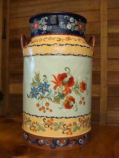 latão de leite antigo, pintado a mão com a técnica bauernmalerei
