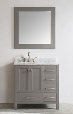 "Aberdeen 36"" Single Modern Bathroom Vanity Set"