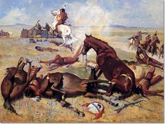 Image detail for -... the Pony Right to the Barricade 1900 by Frederic Remington | Painting