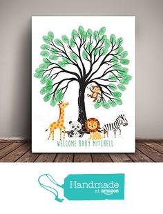 Safari Animals Baby Shower Guest Book for Thumbprints, Jungle Nursery, Thumbprint Tree, Giclee Print, 11x14 or 13x19 from Melissa Wynne Designs https://www.amazon.com/dp/B01GIH2R68/ref=hnd_sw_r_pi_dp_12Tyyb9NJN1NX #handmadeatamazon