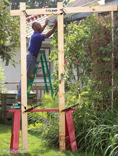 A Helper up High - Working up high with lengths of gutter or lumber can be tough, especially if you're working alone—or if you only have one ladder! To make the job easier, use one-hand bar clamps to quickly connect a sawhorse to two 8-ft. studs. Then use C-clamps to position a 1x4 cross member at the desired height. For the best holding power, set the C-clamps at an angle with the jaws up. You can use heavier material for bigger jobs, but be careful: Top-heavy loads are tippy!
