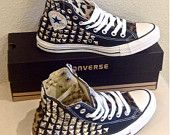 Custom studded Converse Chuck Taylors with faux leopard fur ANY SIZE/COLOR (made to order)