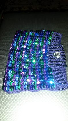 My first attempt at knitting with beads and sequins.