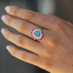 Watermelon Tourmaline Prong Ring