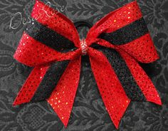 Cheer Bow Texas style Red and Black by desarosebowtique on Etsy, $14.99