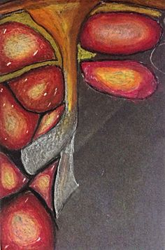 Primary source observation of a pomegranate using oil pastels.good blending of colours and keen observation of the light areas reflected of of the shiny surface of the fruit.