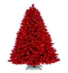 red artificial christmas tree decor, Photo  red artificial christmas tree decor Close up View.
