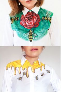 Bees handpainted shirts by Dariacreative. these are forking amazing Fashion Details, Diy Fashion, Fashion Outfits, Fashion Design, Painted Jeans, Painted Clothes, T Shirt Painting, Fabric Painting, Diy Clothing
