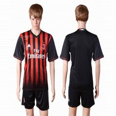 2016-2017 AC milan club black red soccer jersey home