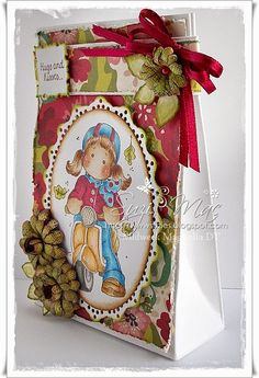 Sweet Scooter Tilda from the Turning leaves collection at www.magnoliastamp... #cards #crafts #gift bag #flowers #ribbon #Autumn