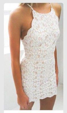 dress beautiful short white dress lace dress style tight classy homecoming dress pretty halter neck