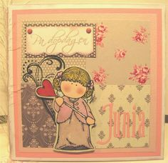 Baptism card with a hÄnglar stamp, made by Anna Jaawre 2009