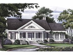 Greek Revival House Plan with 2630 Square Feet and 3 Bedrooms from Dream Home Source   House Plan Code DHSW50271