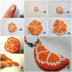 Here is a fun DIY project to make a beaded orange slice key chain. It is so bright and cute! It can be used as a key chain, bag charm, cell phone charm or as an ornament to your any other project. It's a great gift for girls. Take this idea … Seed Bead Crafts, Beaded Crafts, Jewelry Crafts, Diy Crafts, Bead Jewellery, Seed Bead Jewelry, Seed Beads, Beading Projects, Beading Tutorials