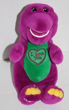 "Barney Singing plush Dinosaur sings I Love You heart 10"" purple stuffed animal"