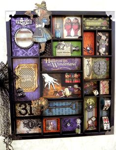 Hallowe'en in Wonderland altered printer's tray