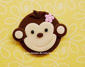 12 Edible Fondant Monkey Cupcake Toppers - Girl Monkey & Birthday number. $18.95, via Etsy.