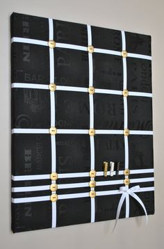 Memo board in black white & gold by MemoBoardsNMore