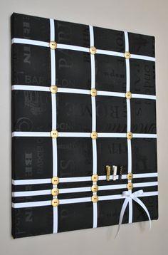 Memo board in black white & gold by MemoBoardsNMore
