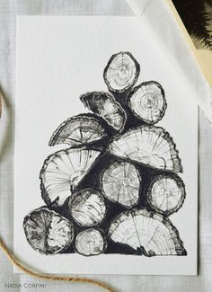 Items similar to Wooden Logs - Digital Art Print. Ink illustration from the Inktober series. Art And Illustration, Ink Illustrations, Nature Sketch, Nature Drawing, Art Nature, Ink Pen Drawings, Art Drawings Sketches, Log Drawing, Look At My
