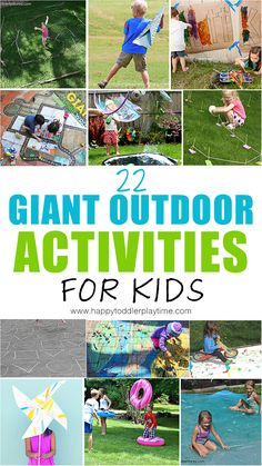 Looking for boredom busting ideas for your kids? Check out this list of GIANT outdoor summer activities! From water blobs, to huge bubbles to crafts! Outside Activities For Kids, Summer Preschool Activities, Outdoor Summer Activities, Outdoor Fun, Toddler Activities, Learning Activities, Childcare Activities, Outdoor Games, Toddler Fun