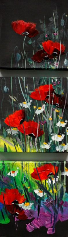 Poppies- gorgeous wildflowers and red poppies with black background. Very pretty painting idea.