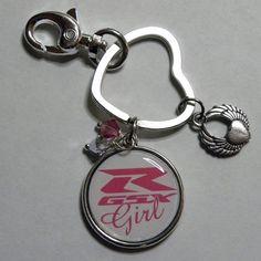 Pink Suzuki GSXR Girl keychain with charms by MotoChicBoutique