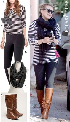 The idea of brown and black together used to bug me, but brown boots with black leggings sure can look cute!