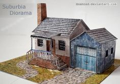 PAPERMAU: Suburbia Paper Model Diorama - Assembled by Svance...