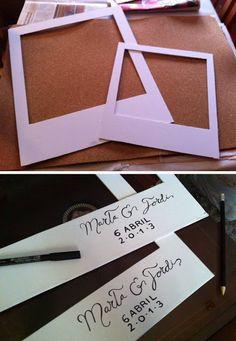 * Marco de fotos Polaroid hecho con papel pluma (By: Confesiones de una boda) *