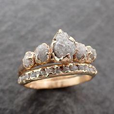 CUSTOM Raw Diamond Rose gold multi stone Engagement Ring Rough Gold Wedding Dainty Delicate Ring diamond Wedding Ring Rough Diamond Ring C2550