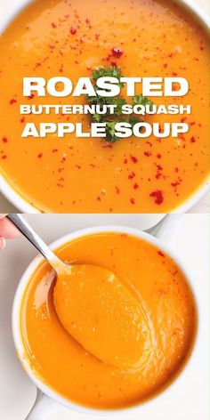 Butternut Squash Soup with Apple Recipe - Easy fall soup recipe with complex flavors. Healthy and delicious. Roasted Butternut Squash Soup with Apple Recipe - Easy fall soup recipe with complex flavors. Healthy and delicious.