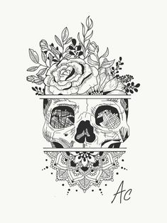Create a Tattoo Idea … Skull … Flowers … Mandala insta: amylquise_drawings … - Tattoos Mandala Tattoo Design, Mandala Drawing, Mandala Sketch, Mandala Thigh Tattoo, Kunst Tattoos, Body Art Tattoos, Floral Skull Tattoos, Tatoos, Pretty Skull Tattoos
