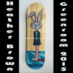 Original Heather Brown Surf Art Skateboard Deck for the 2015 Greenroom Festival. #heatherbrown #surfart #skateboardart #bunny #surfing