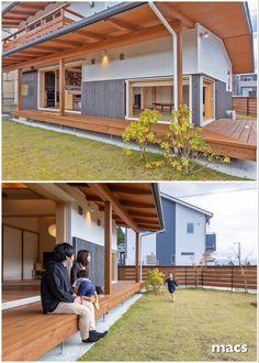 屋根のかかった大きな縁側が象徴的なデザイン。この家のシンボルの縁側は、和室の地窓とL型に繋がっている。 3mの大開口の樹脂サッシを引き込むと、屋根のかかった縁側が繋がり、LDKと庭が一体になる。 子供たちは、家←→縁側←→庭を、縦横無尽に走り回ります。   #縁側 #バルコニー #ウッドデッキ #縁側のある家 #家  #マイホーム #マイホーム計画 #注文住宅 #こだわりの家 #おしゃれな家 #理想の家 #木の家 #自然素材の家 #家づくり #無垢の家 #住宅 #建築家とつくる家 #デザイン住宅 #あたたかい家 #高断熱住宅 #耐震  #地震に強い家 #高気密高断熱 #静岡県  #富士市 #工務店 #設計事務所 #マクス Japanese Home Decor, Japanese House, Dream Home Design, Home Interior Design, Japan Modern House, Future House, My House, Minimal House Design, Japan Interior