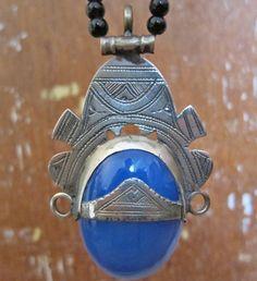 Large Sliver Tuareg Amulet with Blue Agath by TuaregJewelry, by Ineke Hemminga