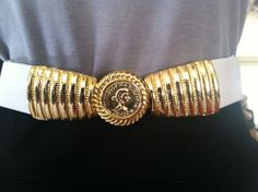 Totally 80's Motion East Gold Coin White by SpeckledRedThrift, $10.00