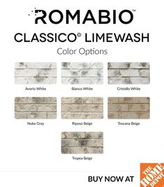 We can finally say all 7 colors are up online @homedepot for purchase!! We have been working on this for awhile, making it easier for you to get Classico Limewash paint. It's free shipping and available in 1 quart (covers 120 sq. ft) and 4 gallons (covers 1800 sq. ft). It's only a one coat process with no additional primer. An easy, affordable way to transform outdated brick or stone. The wash off process is done with a garden hose spray nozzle. It's so much easier than German smear…