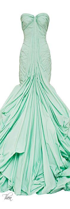 Zac Posen ● Resort 2015, Honeydew Tafetta Gown