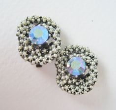 Vintage 50s Mid Century Hollywood Regency Silvertone Faux Pearl Aurora Borealis Blue Rhinestone Earrings by ThePaisleyUnicorn, $12.00