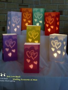 Classy Candle Bags, Inserts & Weights Wedding Party Lights - Hearts x 18