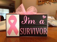 Breast Cancer Awareness Survivor I'm a survivor pink ribbon wood block set Breast Cancer pink ribbon fight like a girl