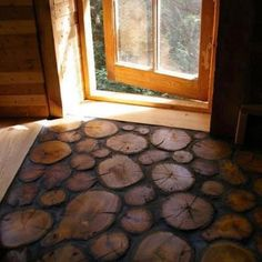 piso con rodajas d madera
