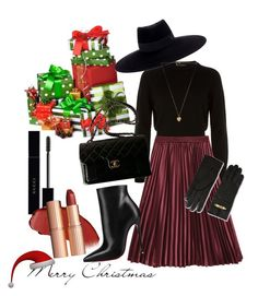"""""""Christmas Outfit"""" by connieimageconsultant on Polyvore featuring Helmut Lang, Christian Louboutin, Chanel, Moschino, Maison Michel, Vanessa Mooney and Gucci"""